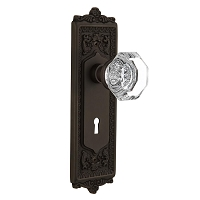 Nostalgic Warehouse 704251 Egg & Dart Plate with Keyhole Privacy Waldorf Door Knob, Oil-Rubbed Bronze