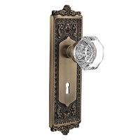 Nostalgic Warehouse 704252 Egg & Dart Plate with Keyhole Privacy Waldorf Door Knob, Antique Brass