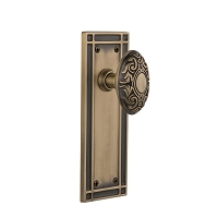 Nostalgic Warehouse 716210 Mission Plate Privacy Victorian Door Knob, Antique Brass