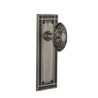 Nostalgic Warehouse 716211 Mission Plate Privacy Victorian Door Knob, Antique Pewter