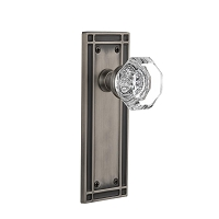 Nostalgic Warehouse 716215 Mission Plate Privacy Waldorf Door Knob, Antique Pewter