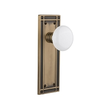 Nostalgic Warehouse 716218 Mission Plate Privacy White Porcelain Door Knob, Antique Brass