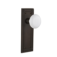 Nostalgic Warehouse 716220 Mission Plate Privacy White Porcelain Door Knob, Oil-Rubbed Bronze