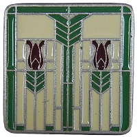 Notting Hill NHK-117-AP-A Prairie Tulips Knob, Antique Pewter/Spring Green