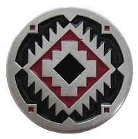 Notting Hill NHK-132-AP-A Southwest Treasure Knob, Antique Pewter/Red