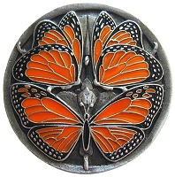 Notting Hill NHK-145-PE Monarch Butterflies Knob Enameled, Antique Pewter