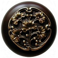 Notting Hill NHW-702W-AB Ginkgo Berry Wood Knob, Antique Brass /Dark Walnut Wood