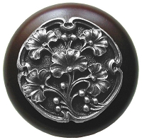 Notting Hill NHW-702W-AP Ginkgo Berry Wood Knob, Antique Pewter/Dark Walnut Wood