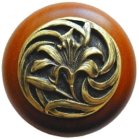 Notting Hill NHW-703C-AB Tiger Lily Wood Knob, Antique Brass /Cherry Wood