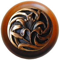 Notting Hill NHW-703C-AC Tiger Lily Wood Knob, Antique Copper/Cherry Wood