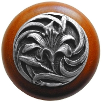 Notting Hill NHW-703C-AP Tiger Lily Wood Knob, Antique Pewter/Cherry Wood