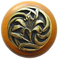 Notting Hill NHW-703M-AB Tiger Lily Wood Knob, Antique Brass /Maple Wood