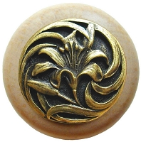Notting Hill NHW-703N-AB Tiger Lily Wood Knob, Antique Brass /Natural Wood