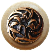 Notting Hill NHW-703N-AC Tiger Lily Wood Knob, Antique Copper/Natural Wood