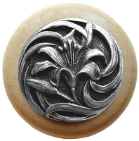Notting Hill NHW-703N-AP Tiger Lily Wood Knob, Antique Pewter/Natural Wood