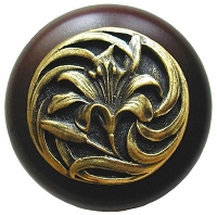Notting Hill NHW-703W-AB Tiger Lily Wood Knob, Antique Brass /Dark Walnut Wood