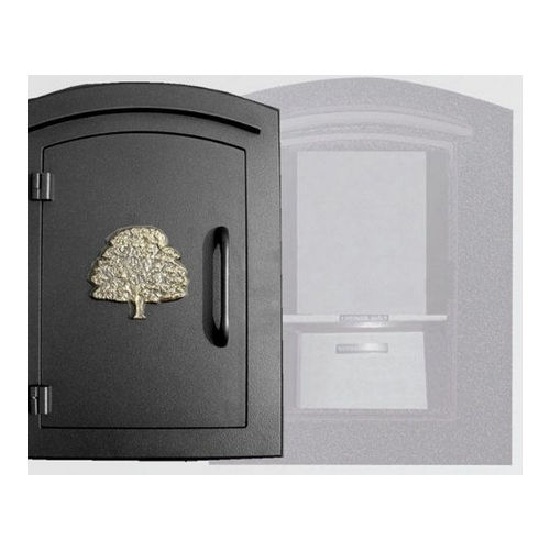Qualarc MAN-S-1404-BL Manchester Locking Column Mount Mailbox Decorative Oak Tree, Black