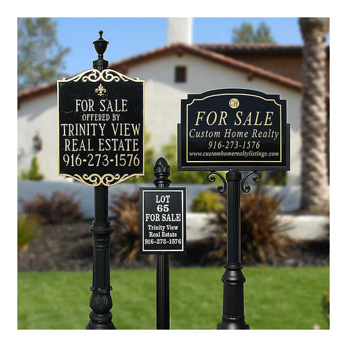 QualArc RCVRE-806-BL Richvale Sign System with Fluted Base 8 & Acorn Finial, Black