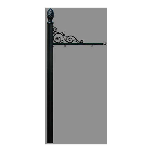 QualArc REPST-003-BL Prestige Sign System with Pineapple Finial, (No Base), Black