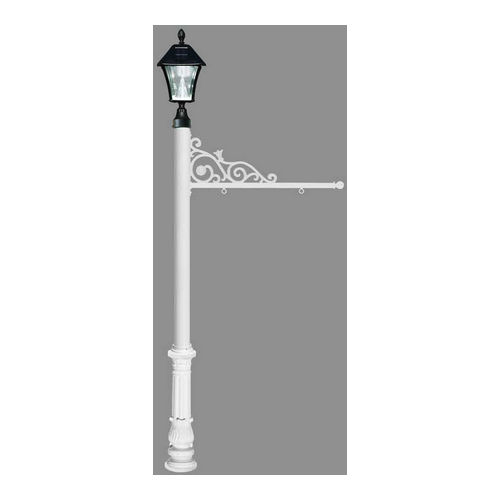 QualArc REPST-700-WHT-SL Prestige Sign System with Ornate Base 7 & Bayview Solar Lamp, White