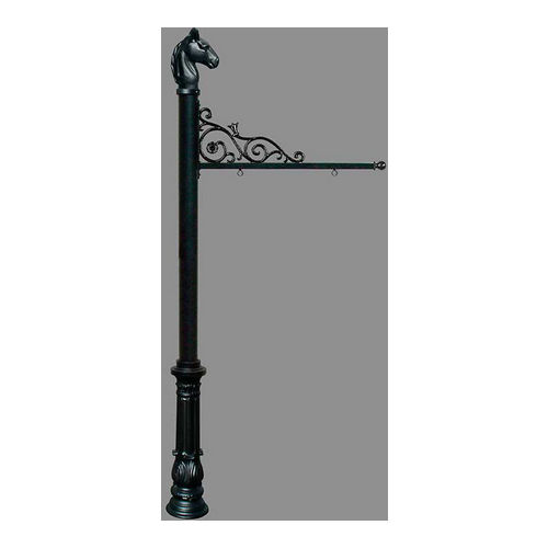 QualArc REPST-701-BL Prestige Sign System with Ornate Base 7 & Horsehead Finial, Black