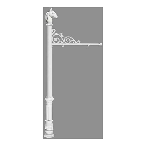 QualArc REPST-701-WHT Prestige Sign System with Ornate Base 7 & Horsehead Finial, White