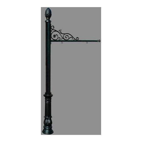 QualArc REPST-703-BL Prestige Sign System with Ornate Base 7 & Pineapple Finial, Black