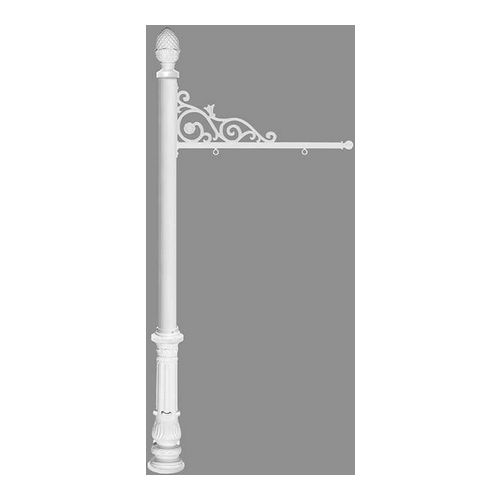 QualArc REPST-703-WHT Prestige Sign System with Ornate Base 7 & Pineapple Finial, White