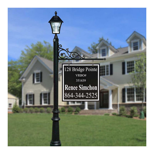 QualArc REPST-800-WHT-SL Prestige Sign System with Fluted Base 8 & Bayview Solar Lamp, White