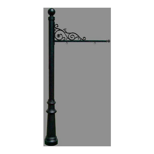 QualArc REPST-804-BL Prestige Sign System with Fluted Base 8 & Ball Finial, Black