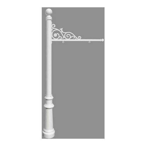 QualArc REPST-804-WHT Prestige Sign System with Fluted Base 8 & Ball Finial, White