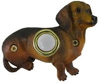 Waterwood DBP-085 Dachshund Sitting Surface Mounted Painted Poly-Resin Doorbells