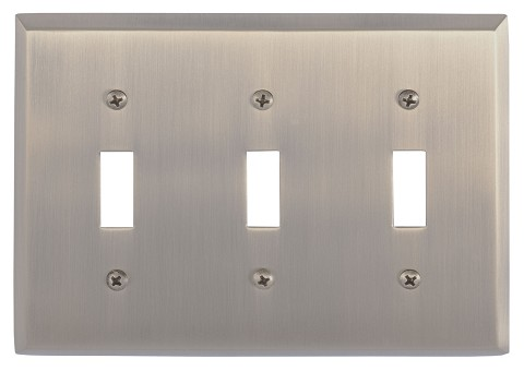 Brass Accents M07-S4550 Quaker Triple Switch, Antique Brass