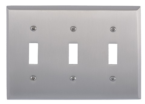 Brass Accents M07-S4550 Quaker Triple Switch, Satin Nickel