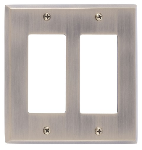 Brass Accents M07-S4570 Quaker Double GFCI, Antique Brass
