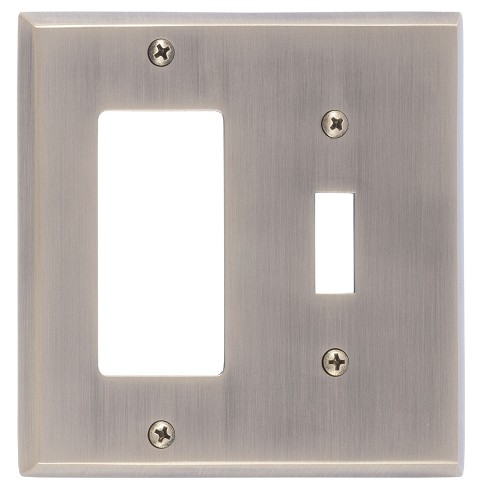 Brass Accents M07-S4571 Quaker Double; 1-Switch/1-GFCI, Antique Brass