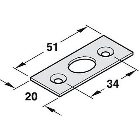 Hafele 911.62.230 Striking Plate for Flush Bolt And Door Operating Locking Bolt, Each