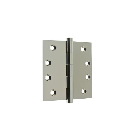 "IDH 84040-026 Solid Extruded Brass 4"" x 4"" Square Corner Door Hinge (Pair), Polished Chrome"