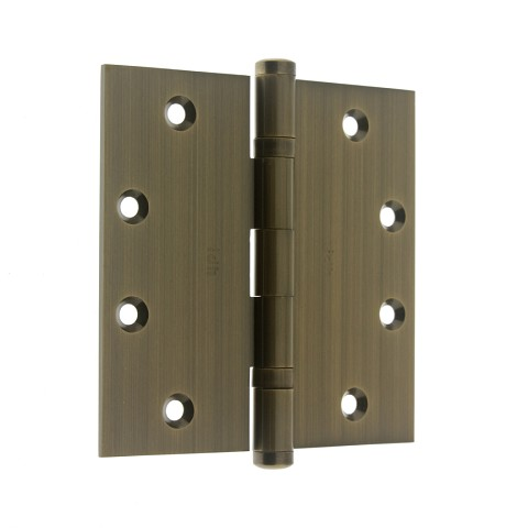 "IDH 86001-005 Solid Extruded Brass 4-1/2"" x 4-1/2"" Ball Bearing Hinge (Pair), Antique Brass"