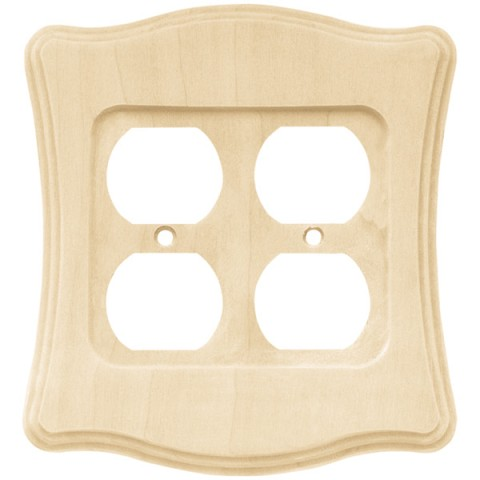 Franklin Brass 64628 Wood Scalloped Double Duplex Wall Plate