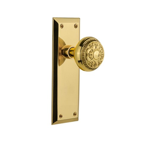Nostalgic Warehouse 707516 New York Plate Double Dummy Egg & Dart Door Knob, Polished Brass