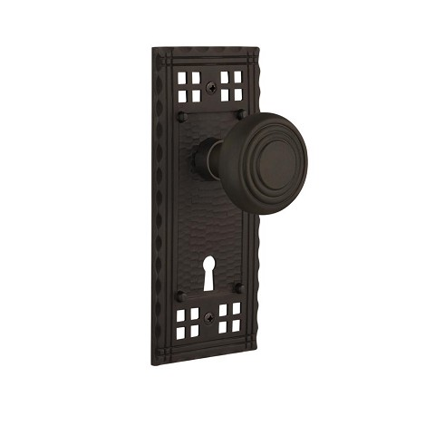 Nostalgic Warehouse 707437 Craftsman Plate with Keyhole Single Dummy Deco Door Knob, Oil-Rubbed Bronze