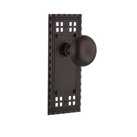 Nostalgic Warehouse 700258 Craftsman Plate Passage New York Door Knob, Timeless Bronze