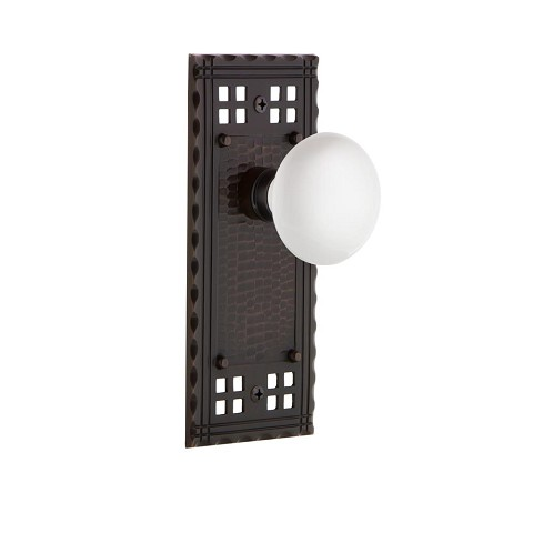 Nostalgic Warehouse 700266 Craftsman Plate Passage White Porcelain Door Knob, Timeless Bronze