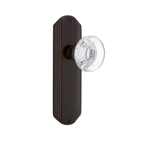Nostalgic Warehouse 700276 Deco Plate Passage Round Clear Crystal Glass Door Knob, Timeless Bronze