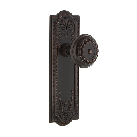 Nostalgic Warehouse 700301 Meadows Plate Passage Meadows Door Knob, Timeless Bronze