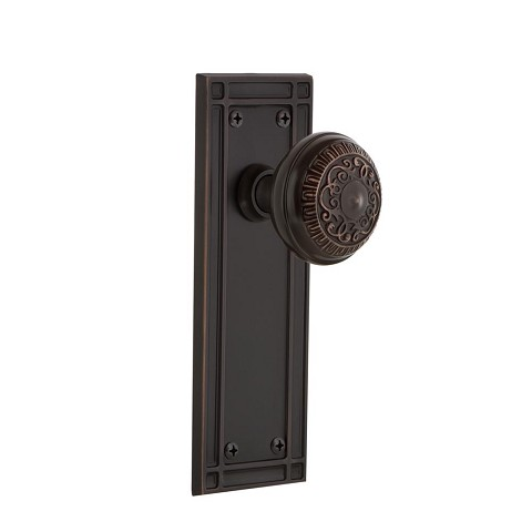 Nostalgic Warehouse 700316 Mission Plate Passage Egg & Dart Door Knob, Timeless Bronze