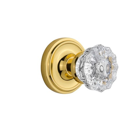 Nostalgic Warehouse 701124 Classic Rosette Passage Crystal Glass Door Knob, Polished Brass