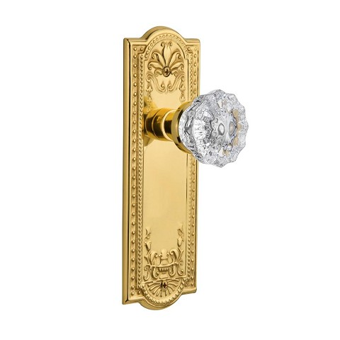 Nostalgic Warehouse 701249 Meadows Plate Passage Crystal Glass Door Knob, Polished Brass