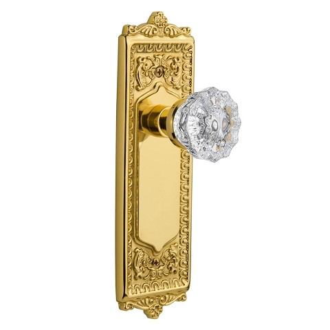 Nostalgic Warehouse 701258 Egg & Dart Plate Passage Crystal Glass Door Knob, Polished Brass